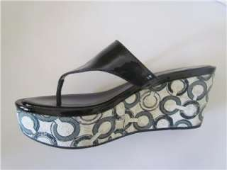 Coach JAN Crinkle BLACK Patent Sandals Size 7.5,8.5