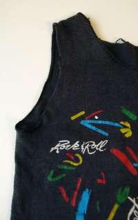 vintage 80s ROCK & ROLL kids TANK TOP Shirt XS 2T/3T/4