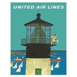 World Travel Poster United Air Lines Lighthouse 9 inch by