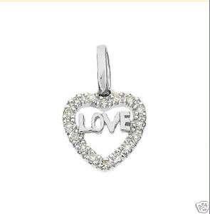 14K Solid White Gold Diamond Love Heart Pendant 17109