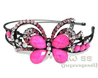 Butterfly Flower Rhinestone Headbands Hair Band H216