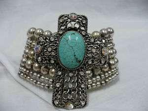 Western Cowgirl Rhinestone Cross Stretch Bracelet