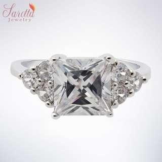 SALE! Gift Square Cut White Fine Clear Topaz Ladies Ring Fashion