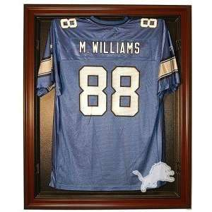 Detroit Lions Full Size Removable Face Jersey Display Case, Mahogany