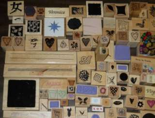 HUGE LOT *** 100+ ASSORTED WOOD MOUNTED RUBBER STAMPS (LOT E)