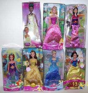 Disney Princess Barbie Dolls Mulan Tiana Belle NEW