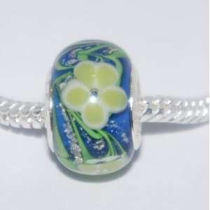 Beautiful Pandora Style Blue And Yellow Flower Design