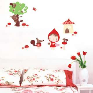 Little Red Riding Hood Adhesive Removable WALL STICKERS