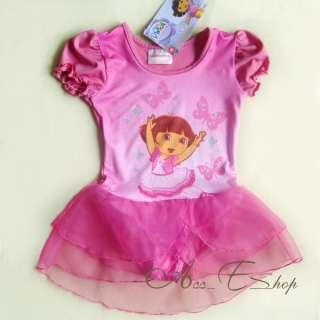 Dora The Explorer Girls Ballet Dance Leotard Costume Dress Fairy Tutu