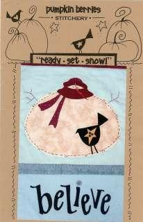 PUMPKIN BERRIES READY SET GO SNOWMAN PRIMITIVE FOLK ART QUILT