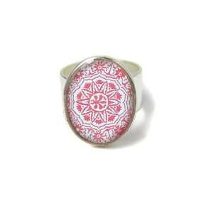 Silver Oval Red Print Resin Ring Jewelry