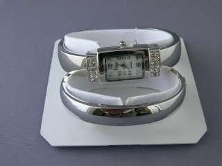 Vivani Silver Tone Mother of Pearl Womens Watch & Bracelet Gift Set