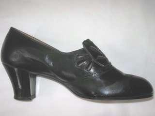 VTG 1940s 50s *NOS* Ladies BLACK Patent LEATHER Heels SHOES Pumps w