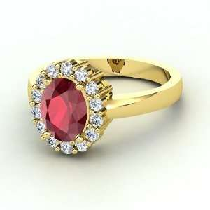 Penelope Ring, Oval Ruby 14K Yellow Gold Ring with Diamond