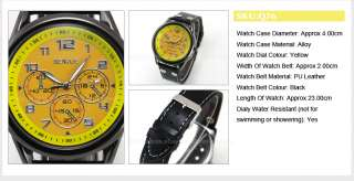SenJue Charm Men Lady Casual Quartz Wrist Watch Black Leather Band