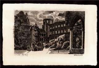 Jander on Carl Jander Etching Heidelberg Germany Art Postcard
