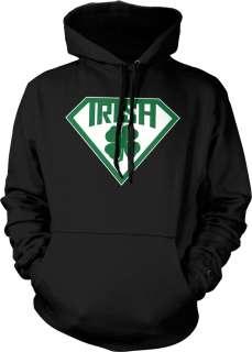 Super Irish Logo Hoodie Pullover Sweatshirt St Patricks Day Four Leaf