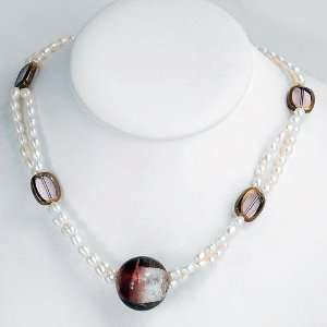 Cultured Freshwater Pearls,Crystals & Glass Necklace with
