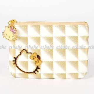 Hello Kitty Rhinestones Coin Purse Key Holder Gold 2EEH