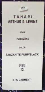 TAHARI LADIES PURPLE / BLACK 3 PC PANT SUIT 12/14 NWT