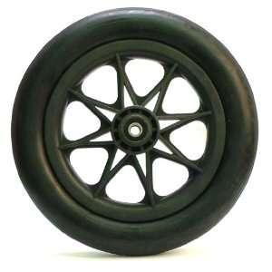 12 Black, Solid Rubber Tire, Plastic Wheel, 1 3/4 Wide, 1
