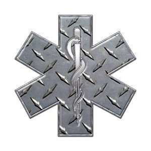 Star of Life EMT EMS Diamond Plate 4 Reflective Decal