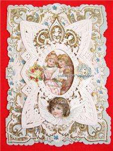 Victorian Valentine Card Layered Lace Paper Embossed Scraps Vintage
