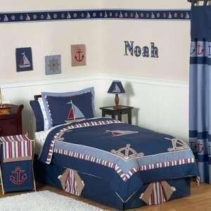 Nautical Nights Boys Sailboat Childrens Bedding   4 pc Twin Set