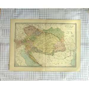 BARTHOLOMEW ANTIQUE MAP 1881 AUSTRIA HUNGARY: Home & Kitchen