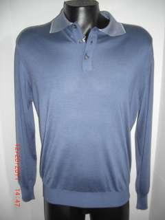 Button Henley Lt Blue Sweater Cashmere Large LG Euro 52 $1295
