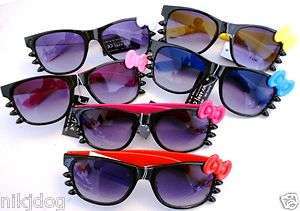 Hello Kitty Sunglasses Bow and Whiskers Black Frame Color Arms Dark
