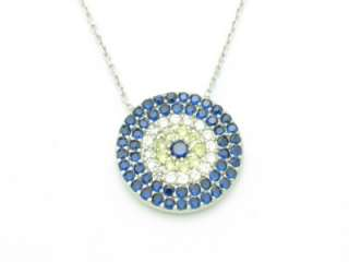 SILVER DIAMOND SET BLUE & WHITE SAPPHIRE EVIL EYE DISK PENDANT