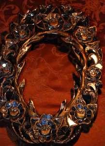 Golden Exotic Mirrored Flower Frame   Mirror/Wood