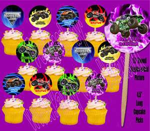Monster Jam Trucks Cupcake Picks Cake Toppers  12 pcs