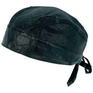 Biker/Motorcycle Solid Leather Perforated Skull Cap