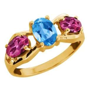 Swiss Blue Topaz and Pink Tourmaline 18k Yellow Gold Ring Jewelry