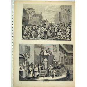 Antique Print Street Scene March Finchley Country Inn Home & Kitchen