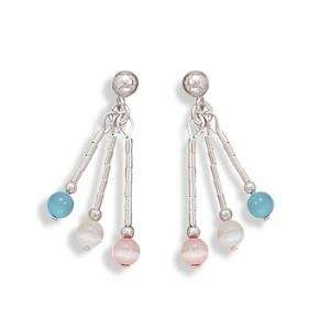 Aqua White and Pink Cats Eye Post Earrings Sterling