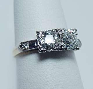 Antique 1.30ct Old European Diamond 14K White Gold Ring Estate Jewelry