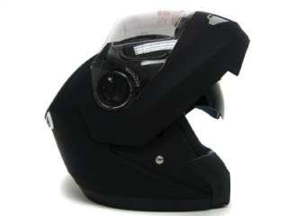 Flat Black 2 Visor Modular Flip Up Motorcycle Helmet ~M