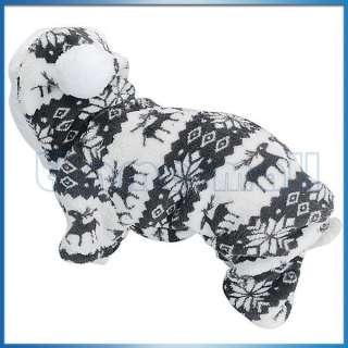 Pet Dog Xmas Fluffy Hoodie Jacket Jumpsuit Coat w/ Reindeer