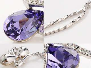Lavender Purple Ribbon Flower Tear Drop Swarovski Crystal Art Pendant