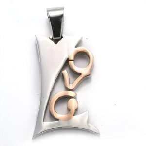 Polished Stainless Steel Two Tone Love Pendant for Women Jewelry