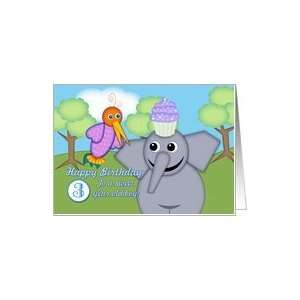 Happy Birthday 3 Year Old Boy, Whimsical Bird, Elephant