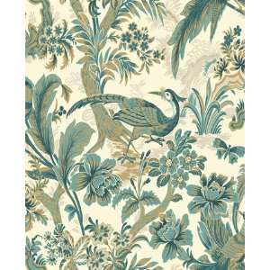 Toile Peacock Wallpaper by Blue Mountain in Shand Kydd (Double Roll