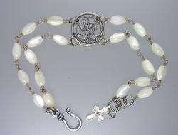 ROSARY Bracelet STERLING Silver Notre Dame LOURDES Medal CROSS