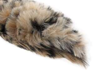 Tan / Black Leopard Spot Print Fox Tail W/ Clip Faux Fur