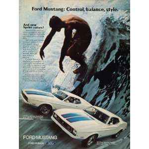 1972 Ad Ford Mustang Muscle Car Sprint Decor Surfer