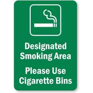 Cigarette Bins (with Graphic) Aluminum Sign, 10 x 7 Office Products