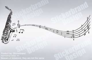 Vinyl Wall Decal Sticker Saxophone Music Notes Sax Big